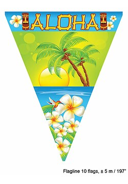 Wimpelkette Girlande Hawaii Sommer Aloha Party
