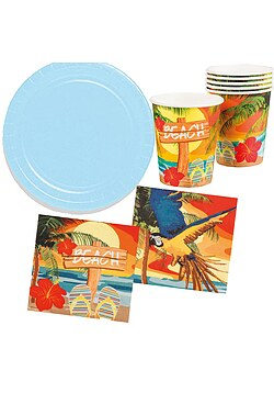 Party Set Hawaii Beach Ara blau 26 Teile