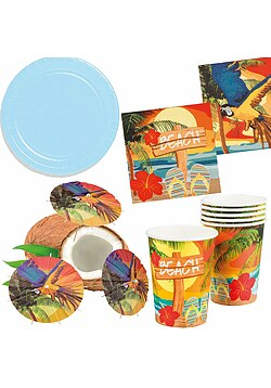Party Set XL Hawaii Beach Ara blau 32 Teile