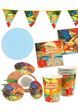 Party Set XXL Hawaii Beach Ara blau 32 Teile + Deko Wimpelkette