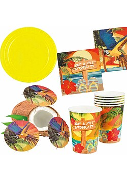 Party Set XL Hawaii Beach Ara gelb 32 Teile