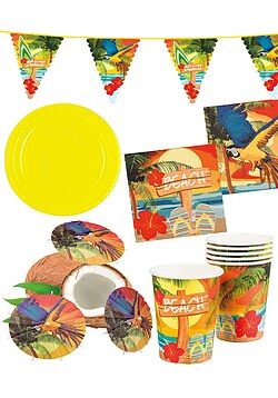 Party Set XXL Hawaii Beach Ara gelb 32 Teile + Deko Wimpelkette