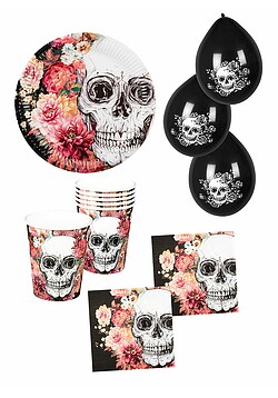 Party Set Halloween Party La Catrina 24 Teile mit Ballons
