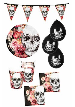 Party Set Halloween Party La Catrina 24 Teile Deko Wimplekette Ballons
