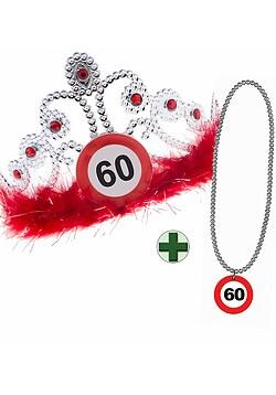 Geburtstagset 60 Jahre Verkehrsschild Hut mit Halskette