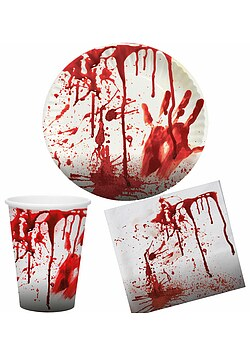 Blutiges Party Set Halloween Horror Blut 36 Teile