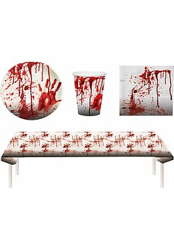 Blutiges Party Set Halloween Horror Blut 37 Teile