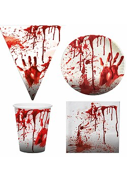 Blutiges Party Set XL Halloween Horror Blut 37 Teile