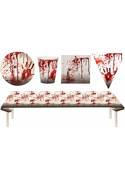 Blutiges Party Set XXL Halloween Horror Blut 38 Teile