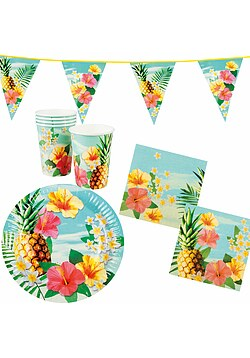 Party Set Hawaii Blume Hibiskus 24 Teile + Deko Wimpelkette