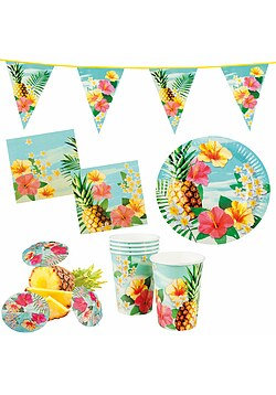 Party Set XXL Hawaii Blume Hibiskus 30 Teile + Deko Wimpelkette