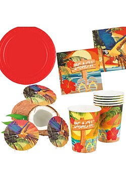 Party Set XL Hawaii Beach Ara rot 30 Teile