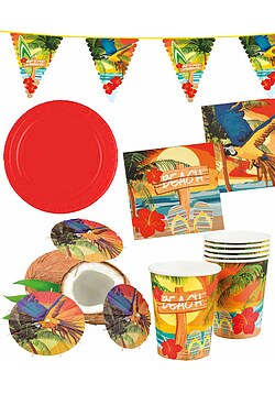 Party Set XXL Hawaii Beach Ara 30 rot Teile + Deko Wimpelkette